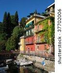 Varenna, old Italian town on the shore of the lake Como - stock photo