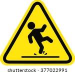 wet floor sign  yellow triangle ... | Shutterstock .eps vector #377022991
