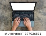 man typing on personal computer ... | Shutterstock . vector #377026831