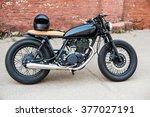 black vintage custom motorcycle ... | Shutterstock . vector #377027191