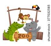 illustration of isolated animal ... | Shutterstock .eps vector #377032585