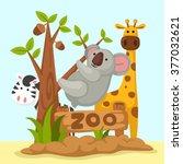 illustration of isolated animal ... | Shutterstock .eps vector #377032621