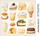 set of delicious sweets and... | Shutterstock .eps vector #377033701
