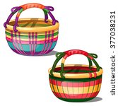 Two Bright Woven Baskets...