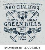 horseback polo sport challenge  ... | Shutterstock .eps vector #377042875