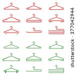 set of plastic clothes hangers. ... | Shutterstock .eps vector #377042944