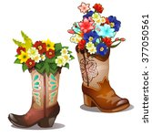Flowers In Boots Isolated On A...