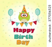 template postcards owl birthday ... | Shutterstock .eps vector #377056525