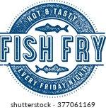friday fish fry menu stamp | Shutterstock .eps vector #377061169
