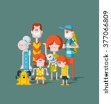 colorful happy cartoon people.... | Shutterstock .eps vector #377066809