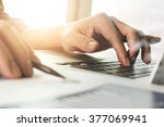 close up of businessman hand... | Shutterstock . vector #377069941