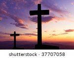 cross silhouette and the clouds ... | Shutterstock . vector #37707058
