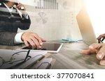 businessman making presentation ... | Shutterstock . vector #377070841