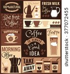 flat modern poster with coffee... | Shutterstock .eps vector #377072455