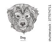 Hand Drawn Dog  With Ethnic...