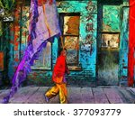 a digital painting of people... | Shutterstock . vector #377093779