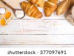freshly baked croissants and...   Shutterstock . vector #377097691