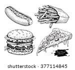 vector vintage fast food... | Shutterstock .eps vector #377114845