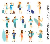 people and couples travelling ... | Shutterstock .eps vector #377120041