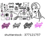 background with girls favorite... | Shutterstock .eps vector #377121757