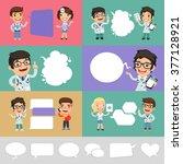 set of a speaking cartoon... | Shutterstock .eps vector #377128921