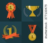 set of trophy and awards icons. ...   Shutterstock .eps vector #377133475