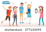 tourists are swarming... | Shutterstock .eps vector #377133595
