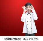 shocked chef with observe... | Shutterstock . vector #377141791