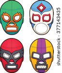 mexican wrestling masks. vector ... | Shutterstock .eps vector #377143435