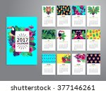 tropical printable calendar... | Shutterstock .eps vector #377146261