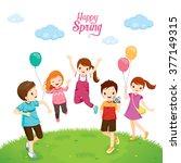 happiness children relaxing on... | Shutterstock .eps vector #377149315