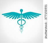caduceus medical symbol. emblem ... | Shutterstock .eps vector #377153551