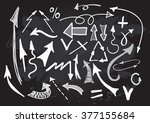 arrows vector set on chalkboard.... | Shutterstock .eps vector #377155684