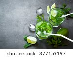 tradition summer drink mojito... | Shutterstock . vector #377159197