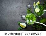 tradition summer drink mojito... | Shutterstock . vector #377159284