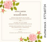 invitation card with roses.... | Shutterstock .eps vector #377160724