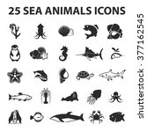 sea animal icons set.