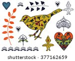 spring doodle set with bird ... | Shutterstock .eps vector #377162659
