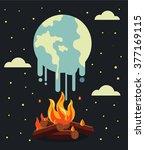 global warming. vector flat... | Shutterstock .eps vector #377169115