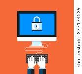 data protection. flat design... | Shutterstock .eps vector #377174539