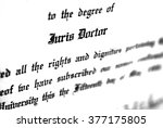 Small photo of Close up of Juris Doctorate law degree certificate