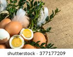 easter eggs in easter basket... | Shutterstock . vector #377177209