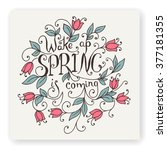 wake up spring is coming. hand... | Shutterstock .eps vector #377181355