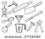 kitchen utensil sketches | Shutterstock .eps vector #377185369