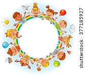 happy children holding blank... | Shutterstock .eps vector #377185927