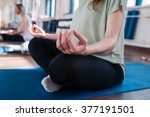pregnant woman doing yoga | Shutterstock . vector #377191501