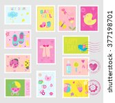baby girl stamps design... | Shutterstock .eps vector #377198701