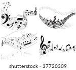 vector musical notes staff...   Shutterstock .eps vector #37720309