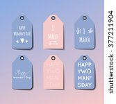 happy woman's day  set of tags... | Shutterstock .eps vector #377211904