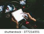 closeup of driver holding... | Shutterstock . vector #377216551